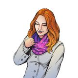 Beautiful smiling girl in scarf illustration royalty free illustration