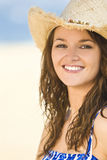Beautiful Smiling Girl in Straw Cowboy Hat Stock Image