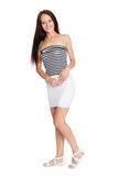 Beautiful smiling girl in a striped tank top Stock Images