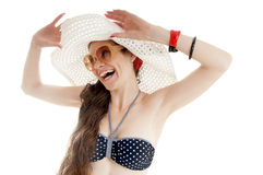 Beautiful smiling girl in summer hat. Royalty Free Stock Image