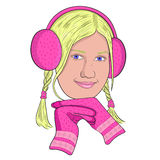 Beautiful smiling girl. vector. Beautiful smiling girl in pink headphones, and gloves. vector Royalty Free Stock Image