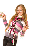 Beautiful smiling girl in warm clothes Stock Photo