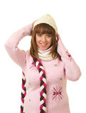 Beautiful smiling girl in warm clothes Royalty Free Stock Images