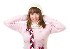 Beautiful smiling girl in warm clothes Royalty Free Stock Image