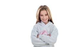 Beautiful smiling girl in white pullover Royalty Free Stock Photo