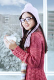 Beautiful smiling girl with winter clothes Stock Photography