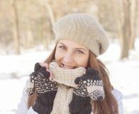 Beautiful Smiling Girl Wintertime Stock Photos