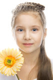 Beautiful Smiling Girl With Yellow Flower Royalty Free Stock Photo