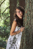 Beautiful smiling girl in the woods Stock Photo