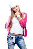 Beautiful smiling hip hop dancer posing in studio isolated on wh Stock Photo