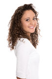 Beautiful smiling isolated young woman with natural curls. Stock Photos