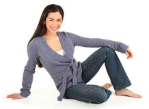 Beautiful Smiling Lady Isolated on White Royalty Free Stock Photo