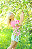 Beautiful smiling lady outdoors portrait. Young beautiful smiling lady outdoors portrait royalty free stock photography