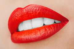Beautiful Smiling Lips Stock Photo