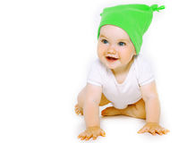 Beautiful smiling little baby in colorful hat Stock Photography