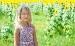 Beautiful smiling little girl on. Portrait of beautiful smiling little girl, against background of sunflower field Stock Photography
