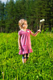 Beautiful smiling little girl with dandelions Royalty Free Stock Images
