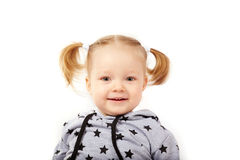 Beautiful smiling little girl. White background, Caucasian, blond hair Stock Photography