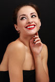 Beautiful smiling makeup woman with red lipstick looking happy Royalty Free Stock Images