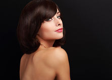 Beautiful smiling makeup woman with short hair looking Royalty Free Stock Photography