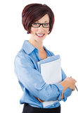 Beautiful smiling mature businesswoman,secre tary or corporate employee holding a clipboard Stock Photography