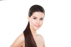 Beautiful smiling model with perfect skin and long Royalty Free Stock Photo