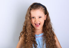 Beautiful smiling natural joying kid girl looking with long curl Stock Images