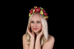 Beautiful smiling nude woman in flower crown Royalty Free Stock Images
