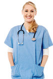 Beautiful smiling nurse isolated on white Stock Photos