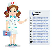 Beautiful smiling nurse. Points to list isolated vector illustration