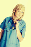 Beautiful Smiling Nurse. Beautiful smiling young isolated nurse stock image