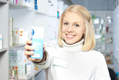 Beautiful smiling pharmacist Stock Photos