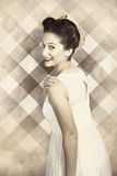 Beautiful smiling pin up girl is in 1920s fashion Royalty Free Stock Image