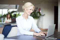 Beautiful smiling professional woman with laptop Stock Photography