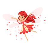 Beautiful smiling red Fairy girl flying colorful cartoon character vector Illustration. Isolated on a white background Royalty Free Stock Images