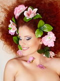 Beautiful smiling redhead ginger woman face Stock Photo