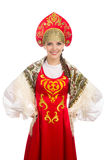 Beautiful  smiling russian girl in folk costume Stock Photo
