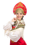Beautiful  smiling russian girl in folk costume Royalty Free Stock Image