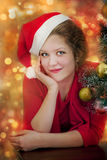 Beautiful smiling santa woman Royalty Free Stock Photography