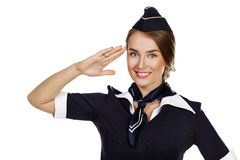 Beautiful smiling stewardess isolated on a white background Royalty Free Stock Photos