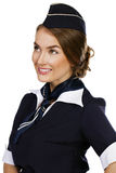 Beautiful smiling stewardess isolated on a white background Stock Photos