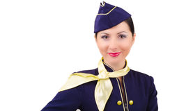 Beautiful smiling stewardess in uniform isolated Stock Photography