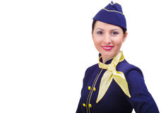 Beautiful smiling stewardess in uniform. Isolated on a white background Royalty Free Stock Image