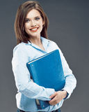 Beautiful smiling student girl hold office paper f Royalty Free Stock Photos