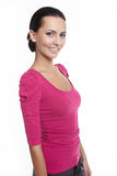 Beautiful smiling stylish woman in pink jacket Stock Images