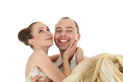 Beautiful smiling wedding couple Royalty Free Stock Photos