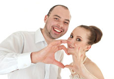 Beautiful smiling wedding couple Stock Photos