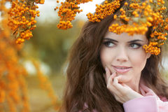 Beautiful smiling woman autumn portrait, colorful park. Outdoor. Royalty Free Stock Images