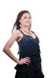 Beautiful smiling woman in black dress isolated Royalty Free Stock Images