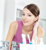 Beautiful smiling woman with clean skin face stock image